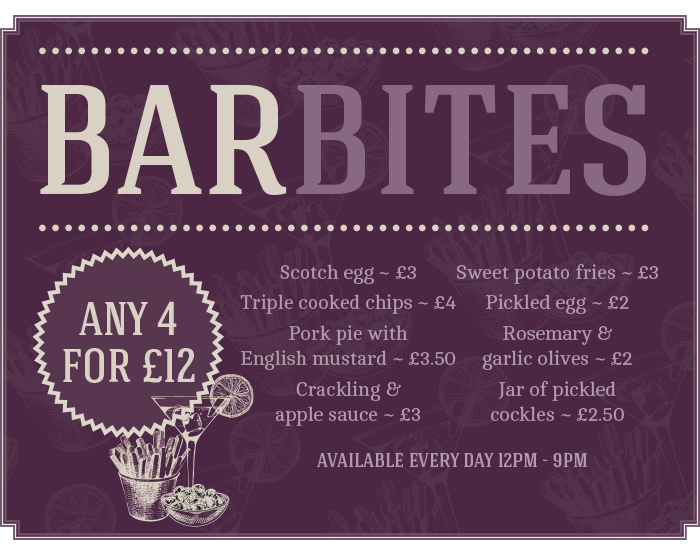 The Littleton Arms Bar Bites - any 4 for £12 - Available every day 12pm - 9pm