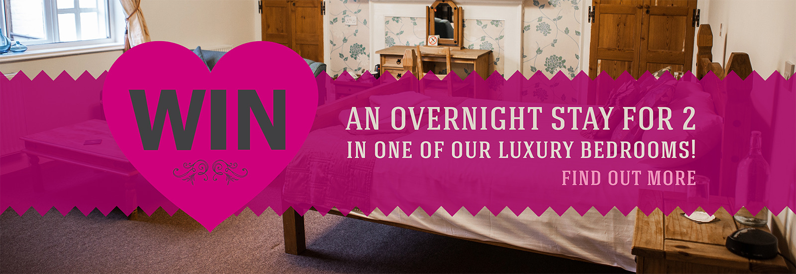 Book your table for two on valentine's weekend at The Littleton Arms and you could win a romantic overnight stay with your partner in one of our luxury, boutique bedrooms!