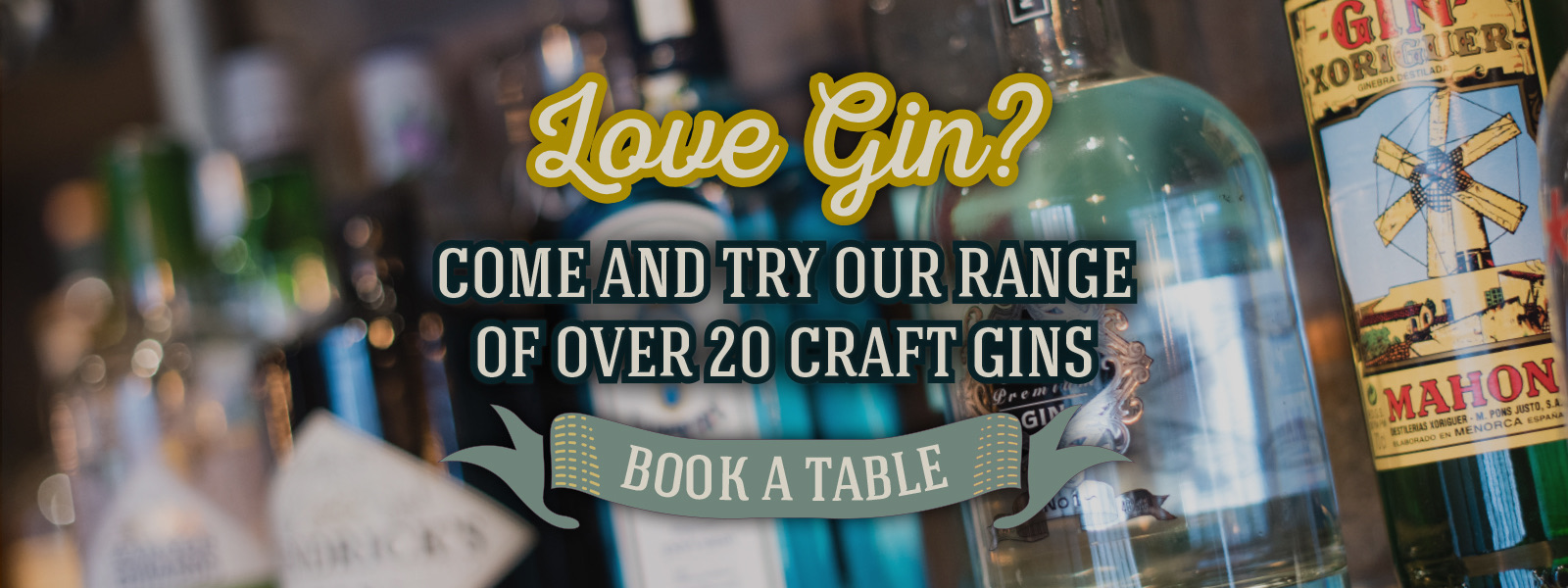 Love Gin? come and try out our range of over 20 craft gins!